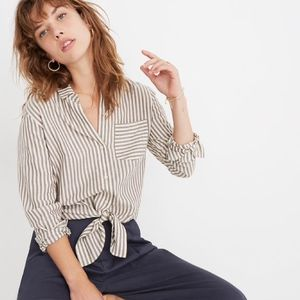 NWT Madewell Tie-Front Shirt in Maitland Stripe